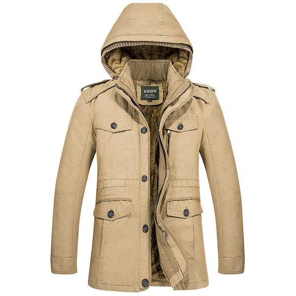 Mens Winter Warm Fleece Dick Kapuzenjacke Outdoor Military Solid Color Coat