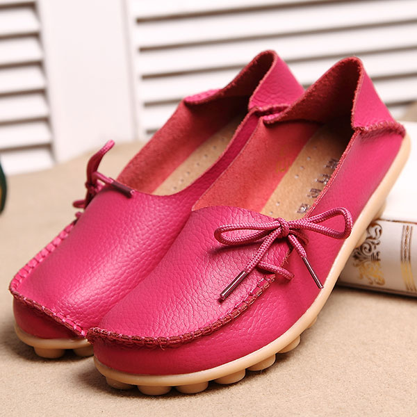 LOSTISY Breathable Casual Leather Flats Shoes