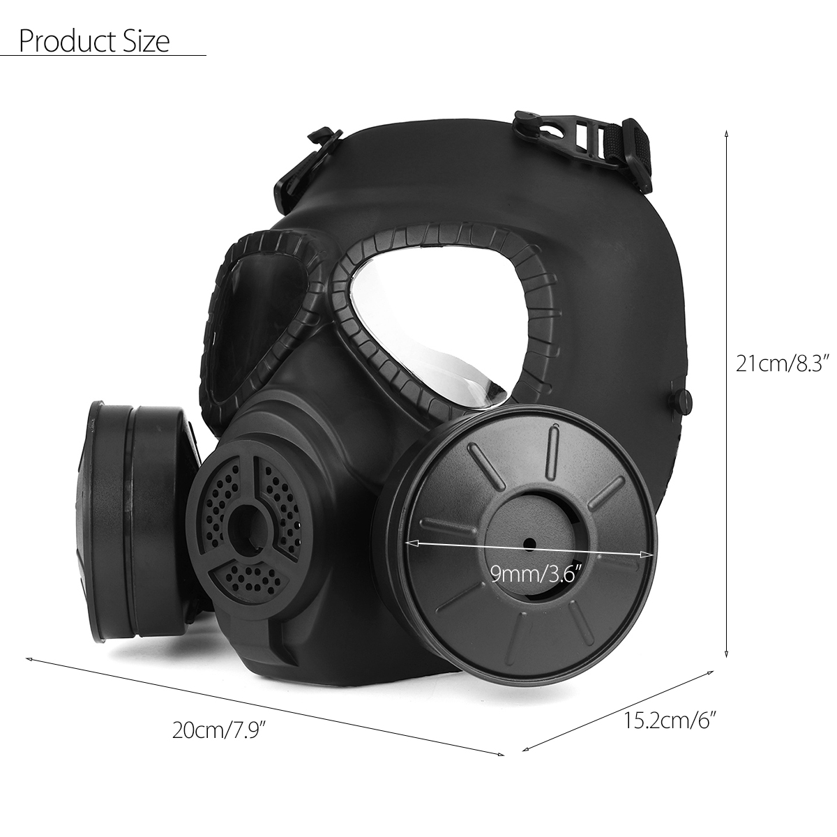 Breathable Gas Mask Double Filter Fan CS Edition Perspiration Dust Face Guard 15