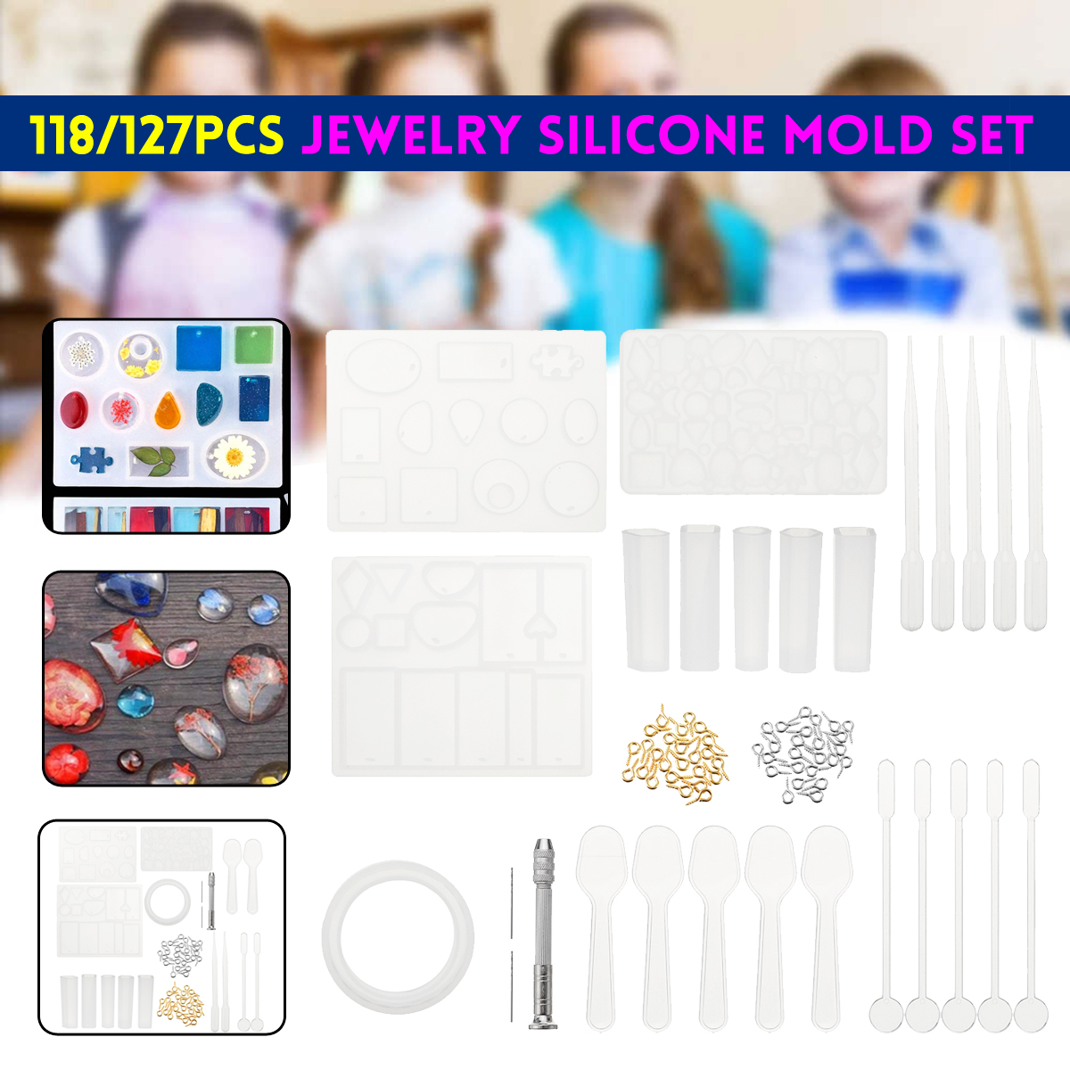 Yalulu 6Pcs Round Square Silicone Mold Mould Casting Resin for Jewelry Pendant Bangle Bracelet Making Mold DIY Hand Craft Tool