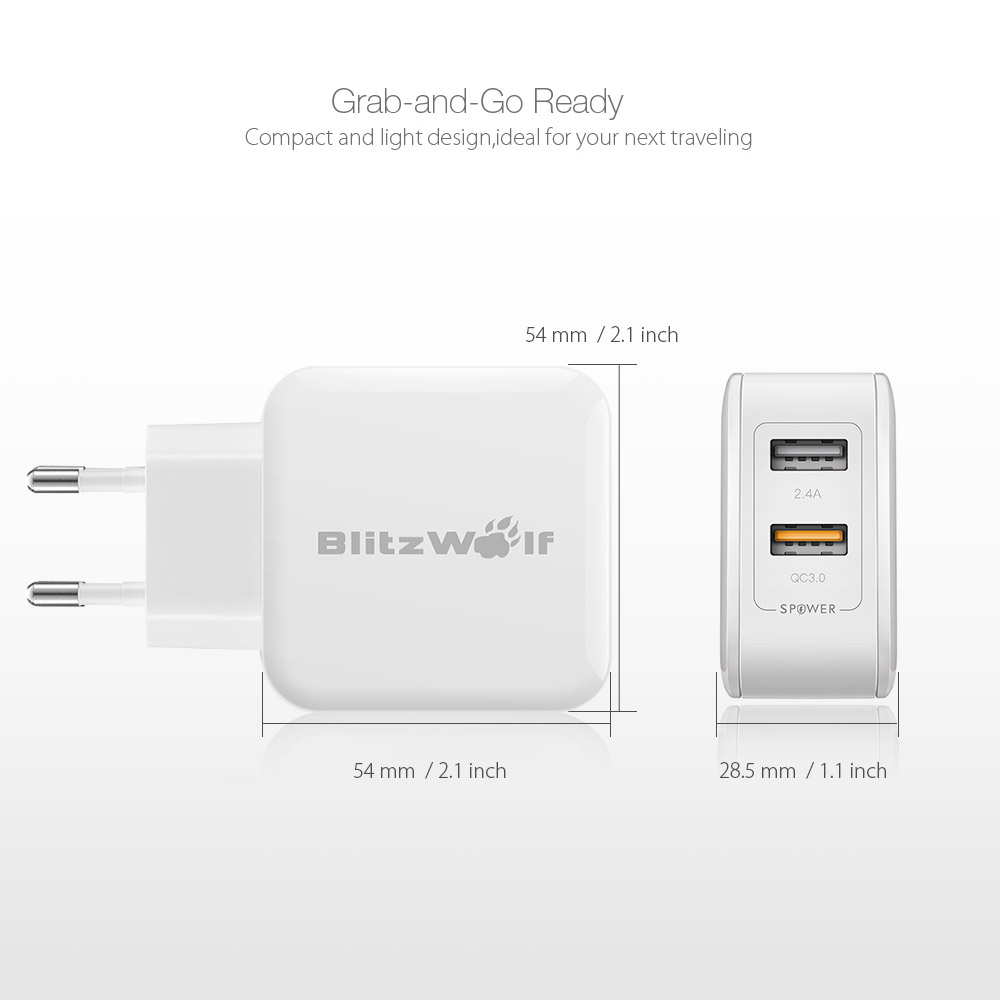 BlitzWolf® BW-S6 QC3.0+2.4A 30W Dual USB Charger EU Adapter for iphone 8 8 Plus iphone X Xiaomi