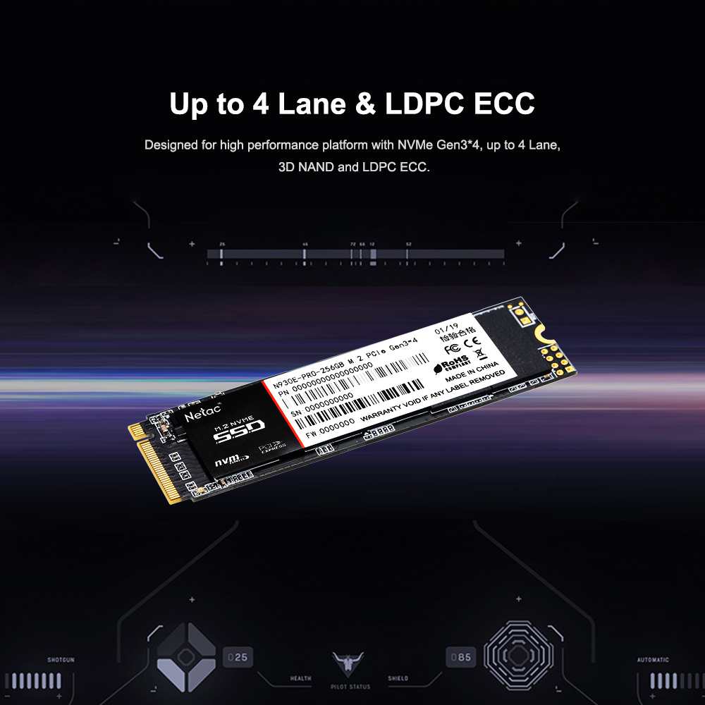 Netac N930E PRO SSD M 2 PCle NVMe Gen3*4 NAND Flash Internal Solid State  Drive Hard Drive For PC Computer 128GB 256GB 512GB