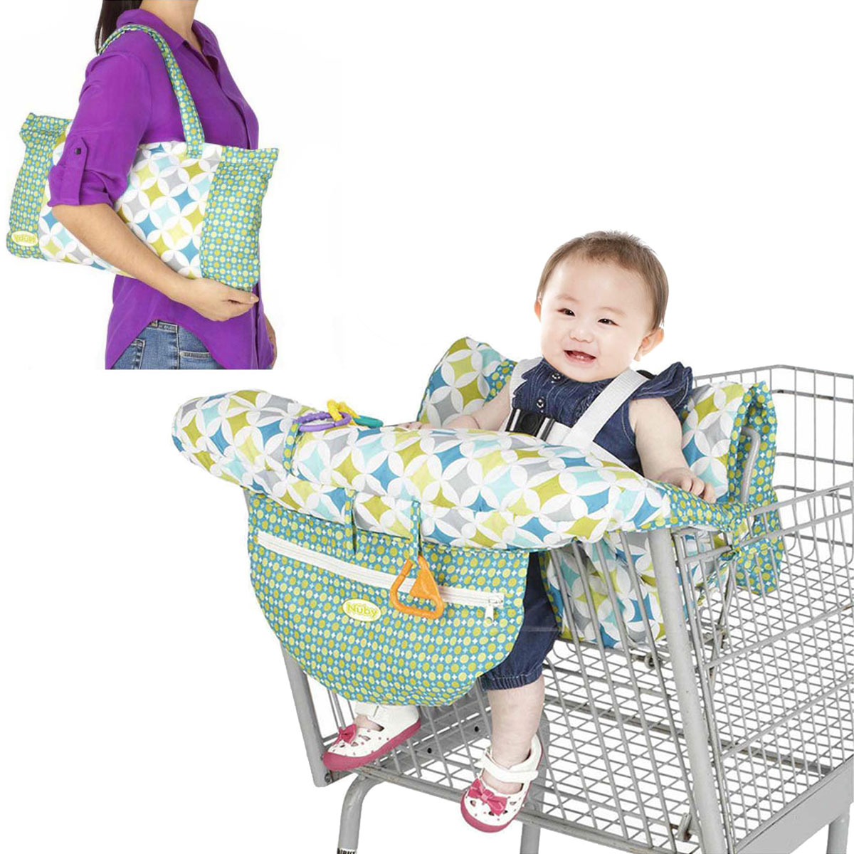 Fodable Baby Kids Корзина Подушка Детские тележки Pad Детские Покупки Push Cart Защитная крышка Детский стул сиденья коврик с безопасностью Ремень