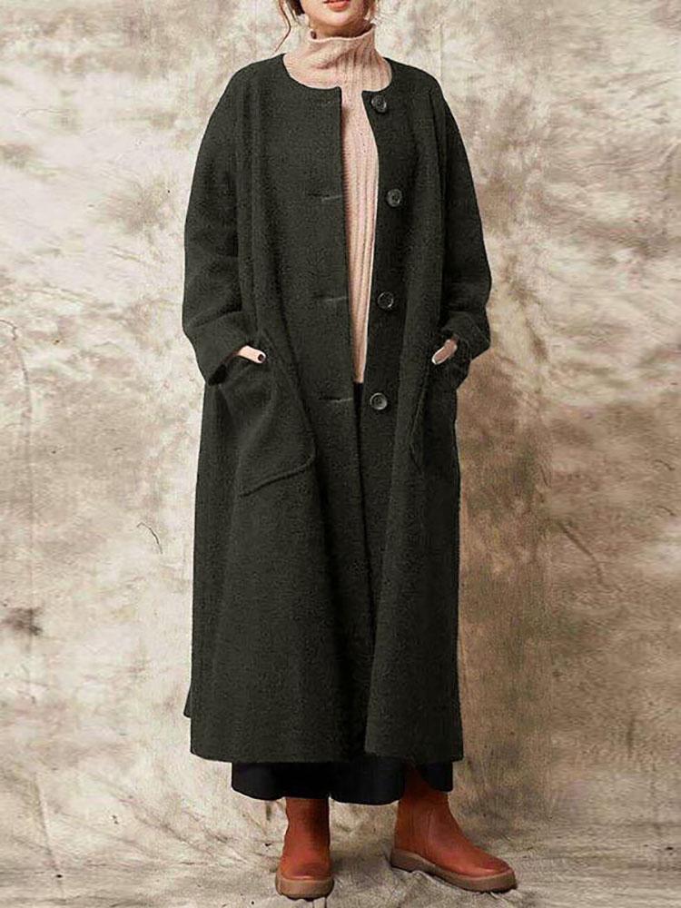 Повседневная Женское Твердая кнопка цвета Длинные пальто с карманами