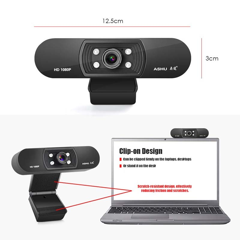 ASHU H800 1080P HD Widescreen Video Webcam with Built-In Microphone 6