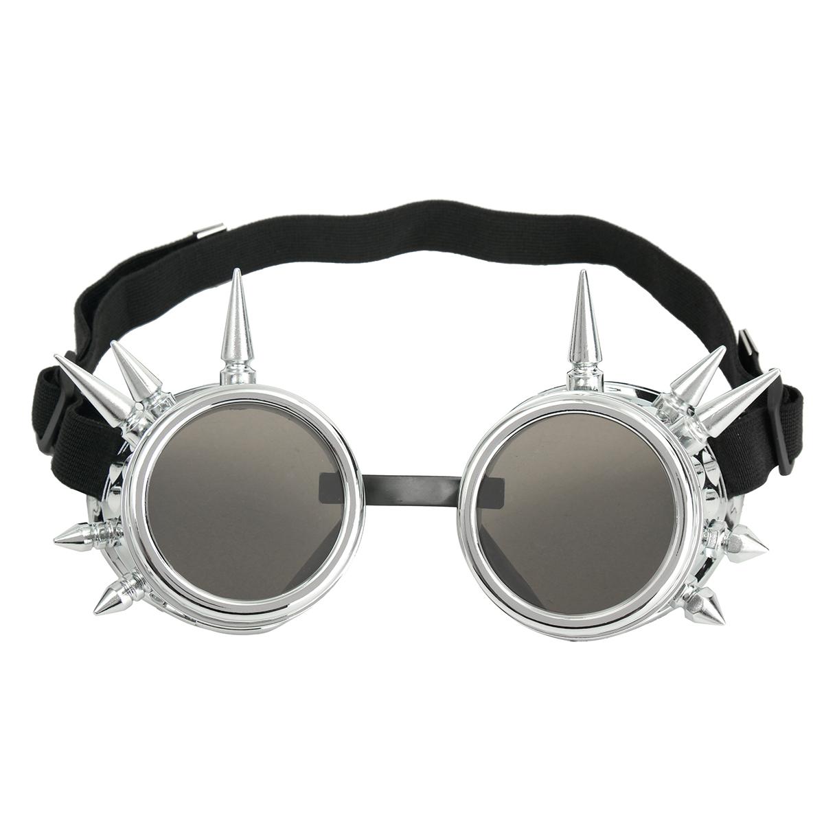 Модные серебряные очки для стимпанкских костюмов Spikey Burning Man Костюм Cosplay Gothic Punk