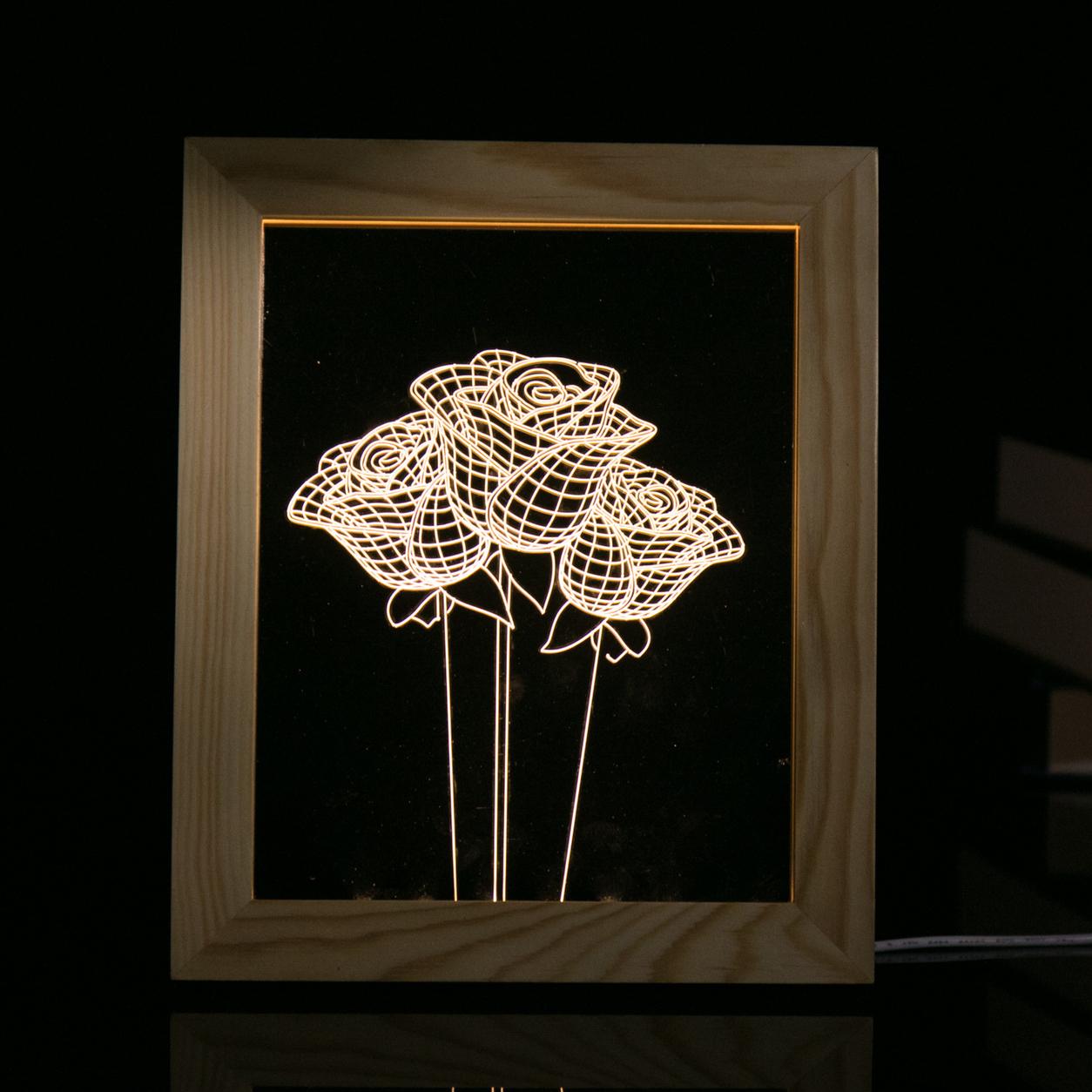 KCASA FL-723 3D Bilderrahmen Illuminative LED Nachtlicht Holz Rose Desktop Dekorative USB Lampe Für Schlafzimmer Kunst Dekor Weihnachtsgeschenke