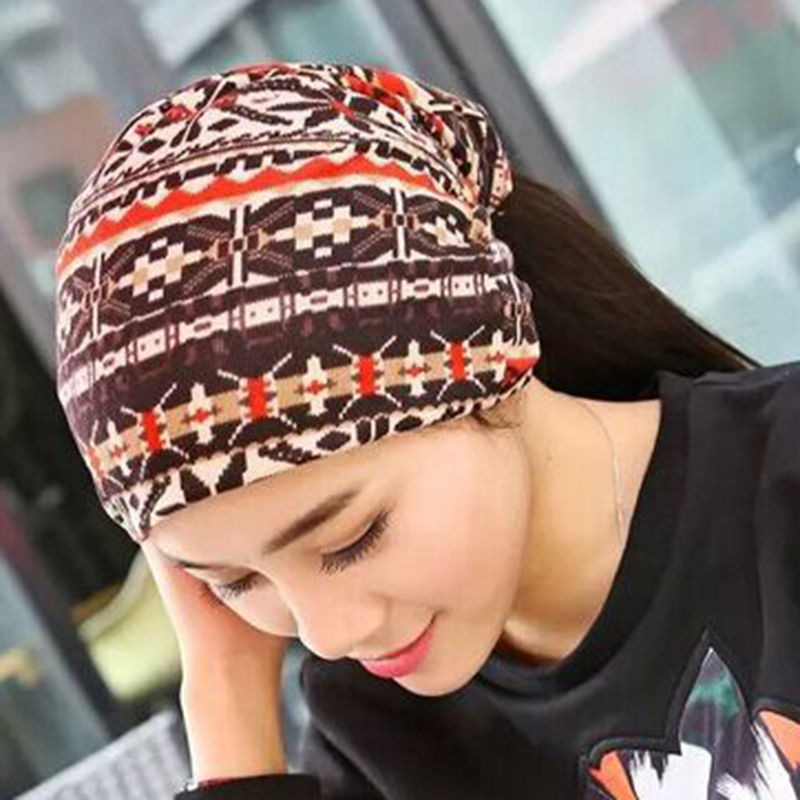 Womens Ethnic Cotton Double Layers Brimless Cap Outdoor Classic Earmuffs Beanie Hats
