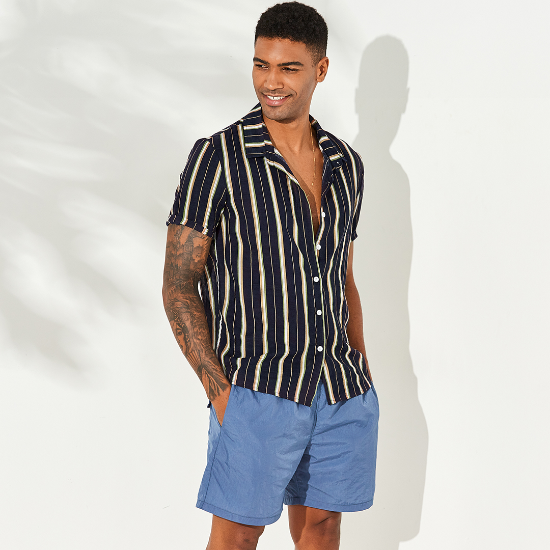 66aa91e61ce Mens Vertical Striped Summer Short Sleeve Casual Fashion Shirts