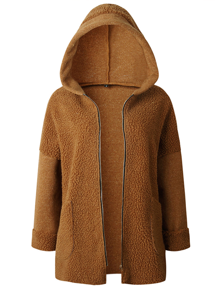 Patchwork Pure Color Fleece Long Sleeve Hooded Coats For Women