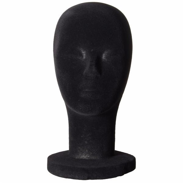 Пены голова манекена черный бархат модель пенополистирола парики дисплей