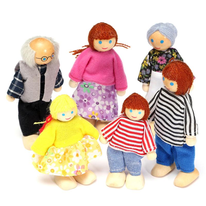 6PCS Деревянные члены семьи куклы установить Дети Дети игрушки Кукольный дом цифры одеваются символы