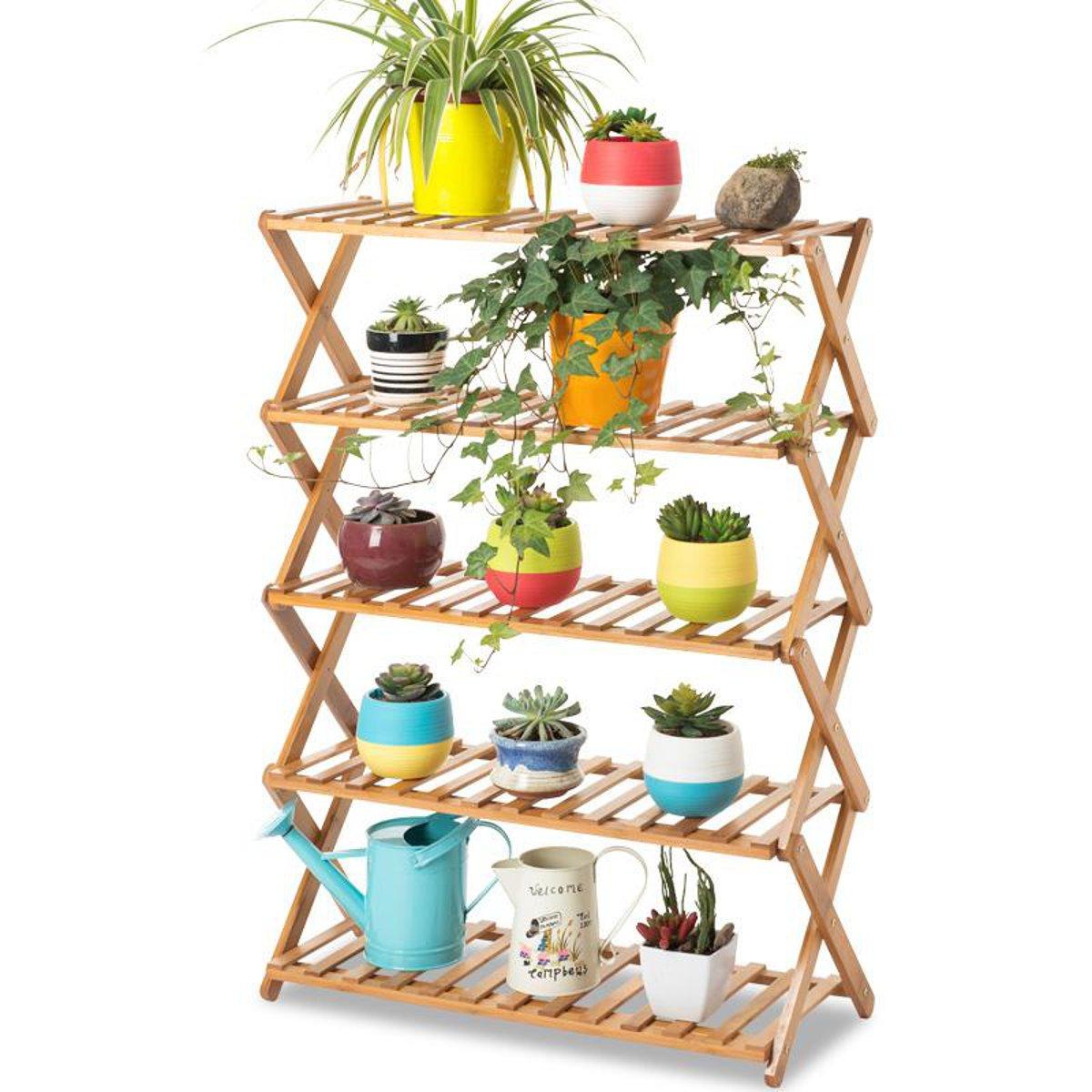 2/3/4/5 Niveau Pliable Fleur Pot Plante Stand Planter Présentoir Étagère Organisateur Jardin Balcon
