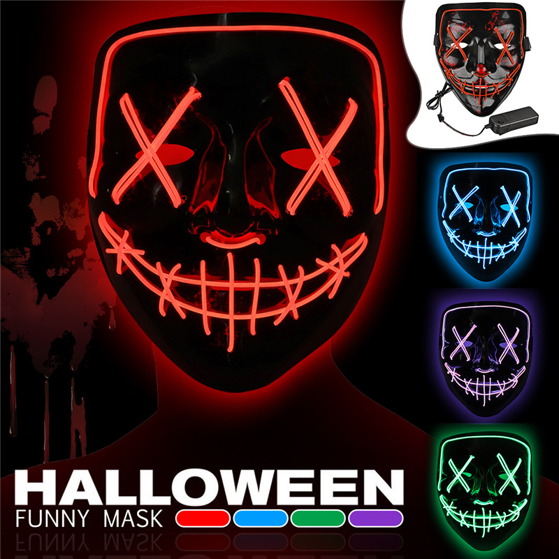 Halloween 4,Modes LED Light El Wire Mask Up Funny Mask The Purge Election  Year Great Cosplay Mask