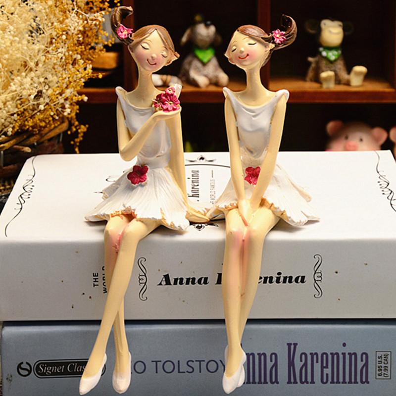 2pcs/setКрасиваядевушкаи ангел Creative смола Кукла Украшения европейского стиля Фея Сад Статуэтки Свадебное Подарочные украшен