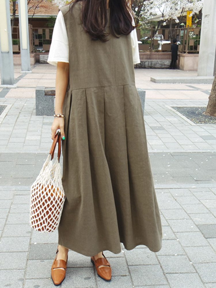 Women Solid Color Round Neck Sleeveless Side Pockets Dr