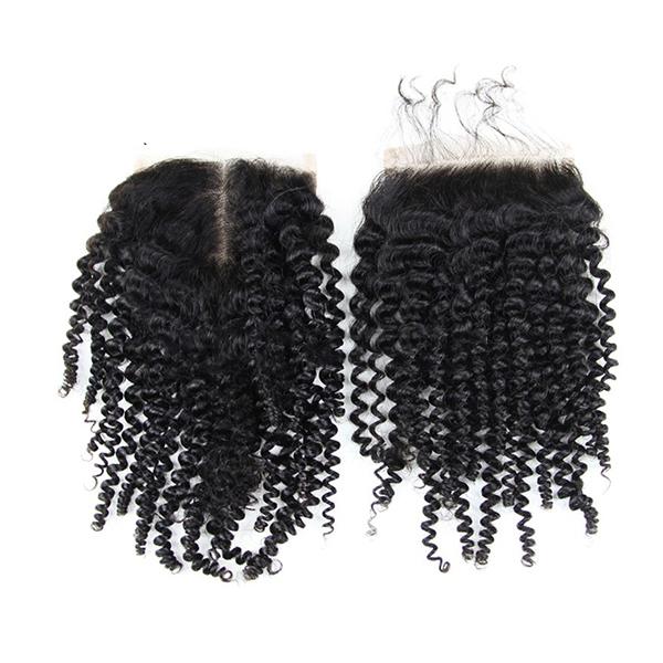 4 * 4 Бразильская кудрявая кудрявая 100% человеческая Волосы Расширения Кружевное закрытие