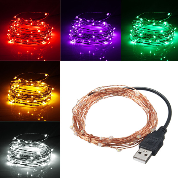 5M 50 LED USB Copper Wire LED String Fairy Light for Christmas Xmas Party Decor