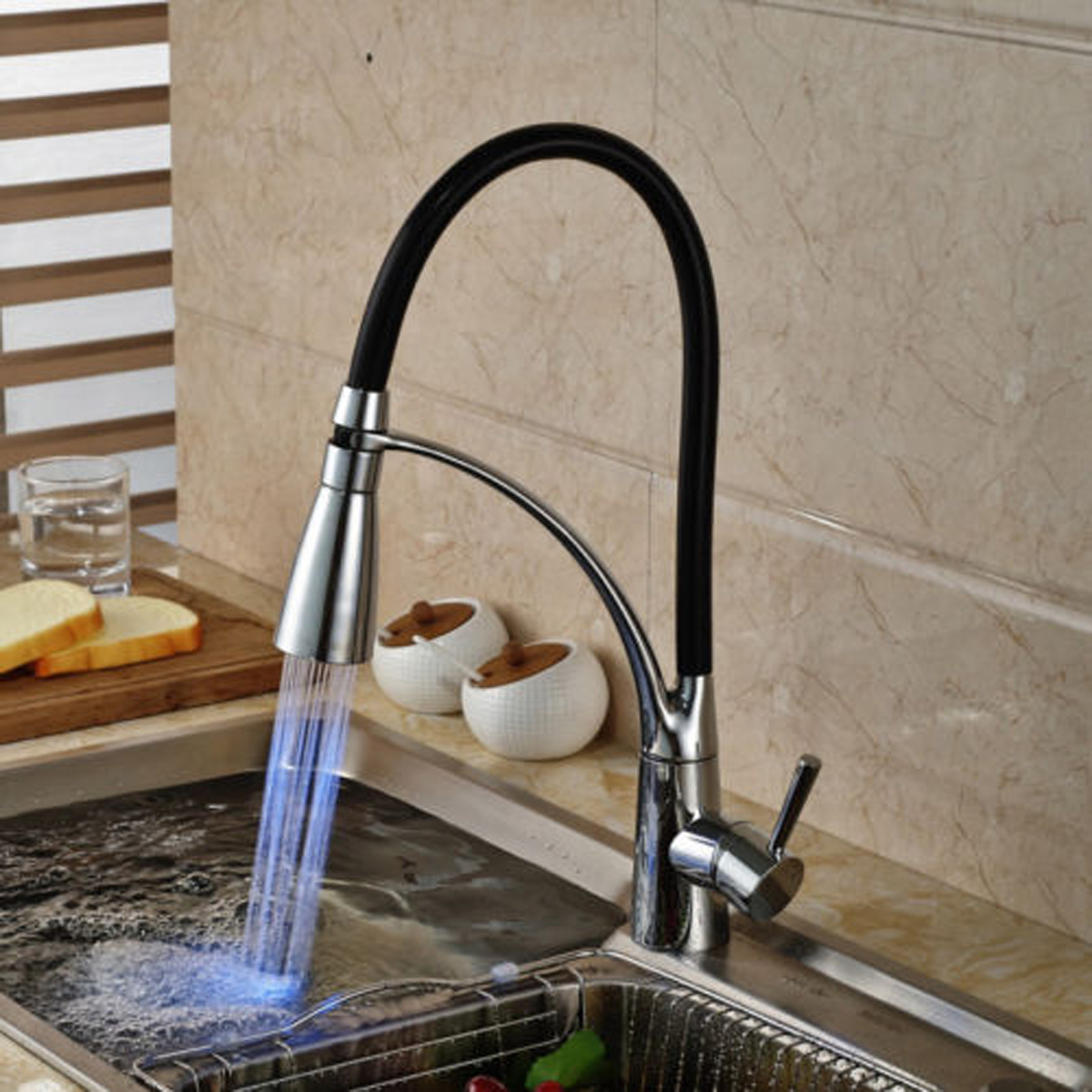 led kitchen sink faucet black chrome plated cold hot pull out spray rh banggood com chrome kitchen sink chrome kitchen sink faucet with pull-out sprayer