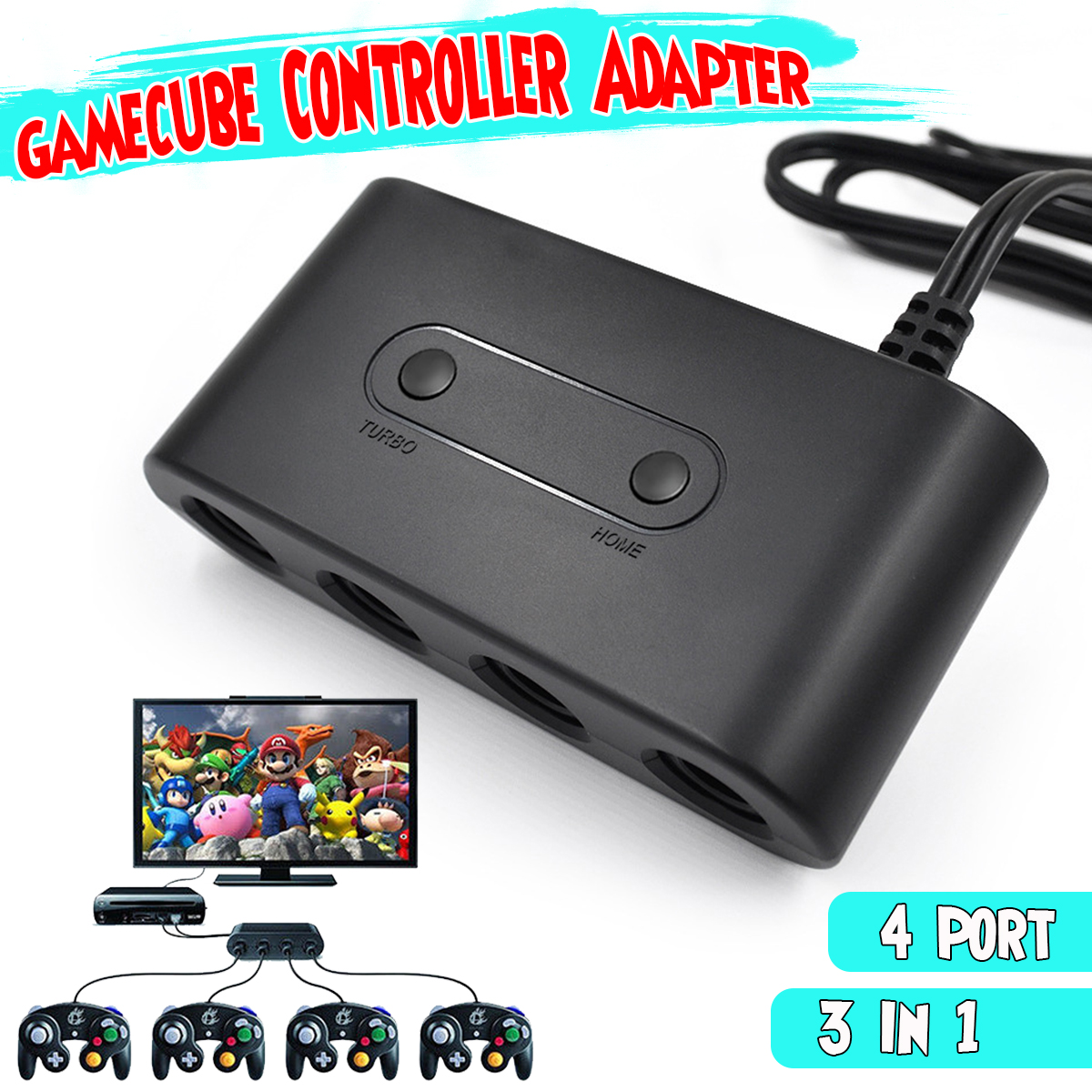 4 Port Gamecube NGC USB Converter Game Controller Adapter For Nintendo  Switch Gamepad Wii U PC