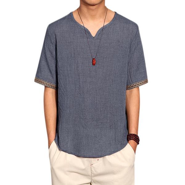 Retro chinesischer Stil T-Shirt Sommer Männer Leinen Volltonfarbe V-Ausschnitt kurze Hülsen Tops T-Stücke