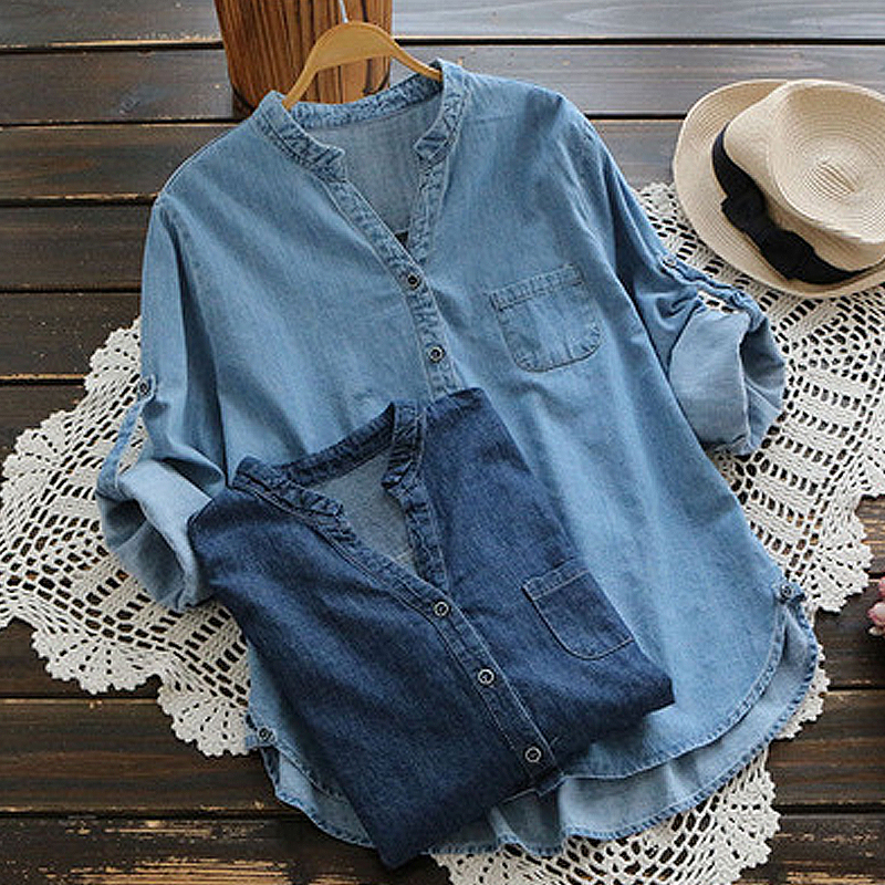 Women Casual Buttons Adjustable Sleeve Denim Blouses
