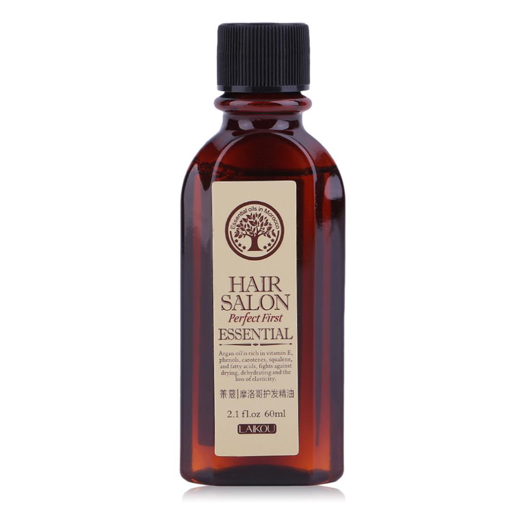 LAIKOU 60ml Moroccan Pure Argan Масло Волосы Сущность для сухих скальпов Волосыs Лечение