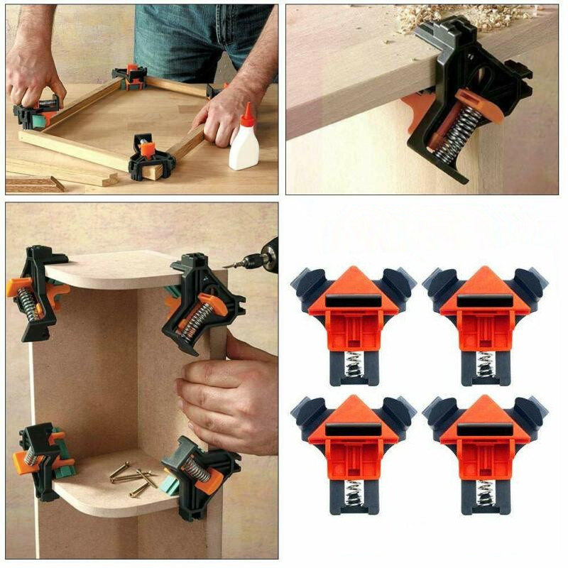 4pcs Woodworking 90 Degree Right Angle Clamp Clip Quick Picture Frame Corner Clamp