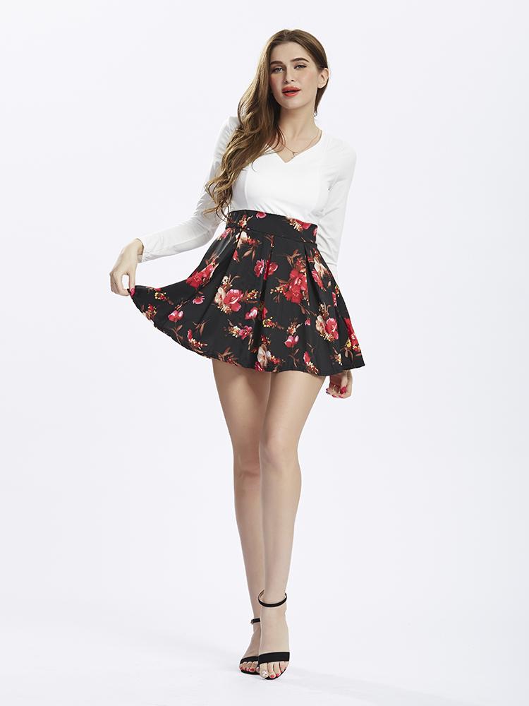 Women Floral Print Patchwork V-Neck Mini Dresses
