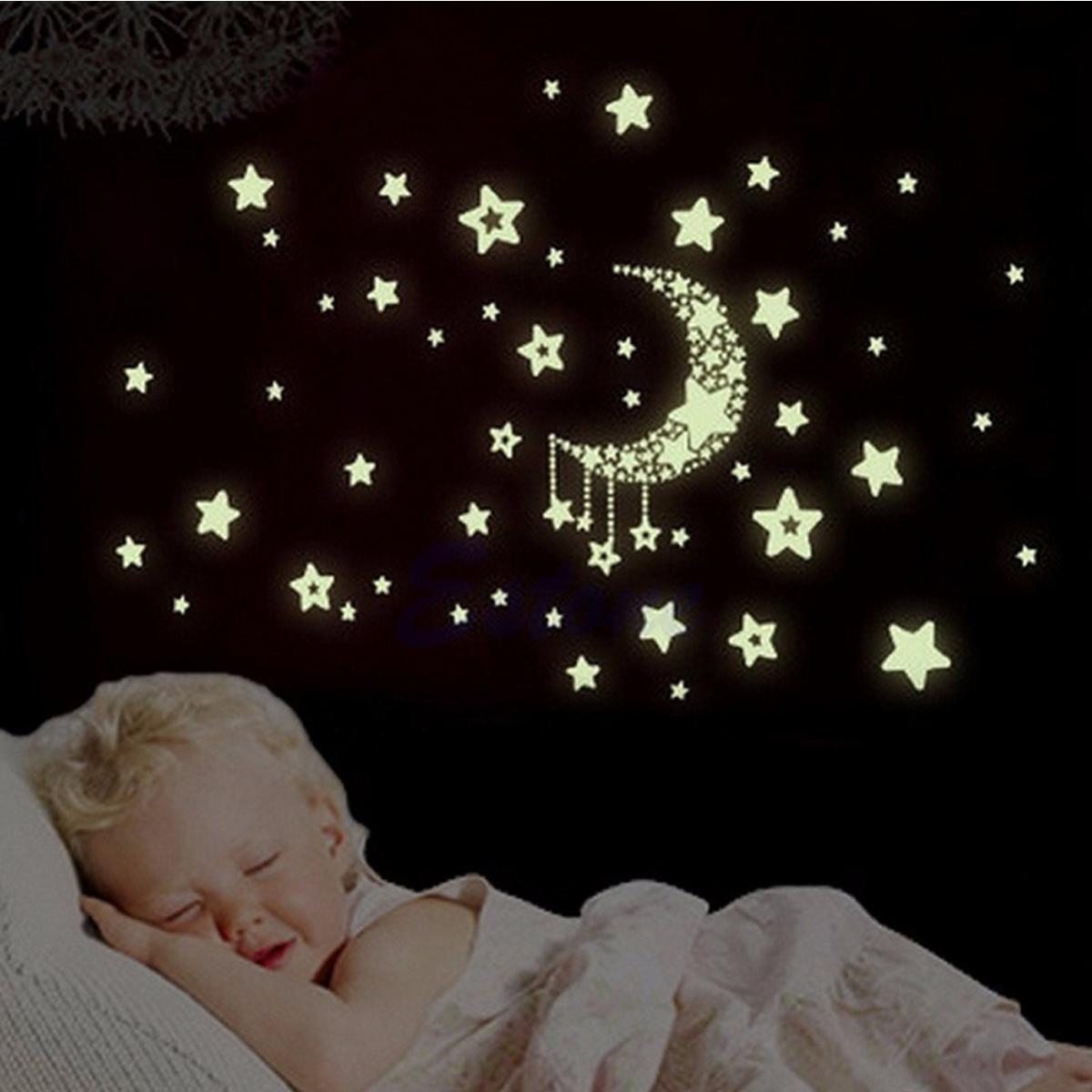 Miico Светящиеся звезды и Луны Creative ПВХ стены наклейки Home Decor Mural Art Съемные наклейки стены