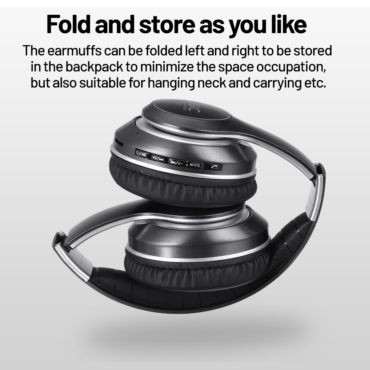 Bluetooth Noise Cancelling Folding Sport Music Over Ear Headphones Headsets