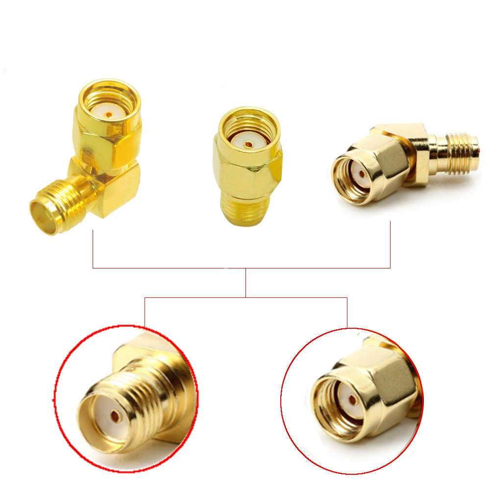 3 PCS Whole Set RP-SMA Male to SMA Female Antenna Connector Adapter Straight Right Angle 45/90/135 Degree ALL in One Combo DIY Accessories For 1.2Ghz 2.4Ghz 5.8Ghz RC Racing Drone FPV System
