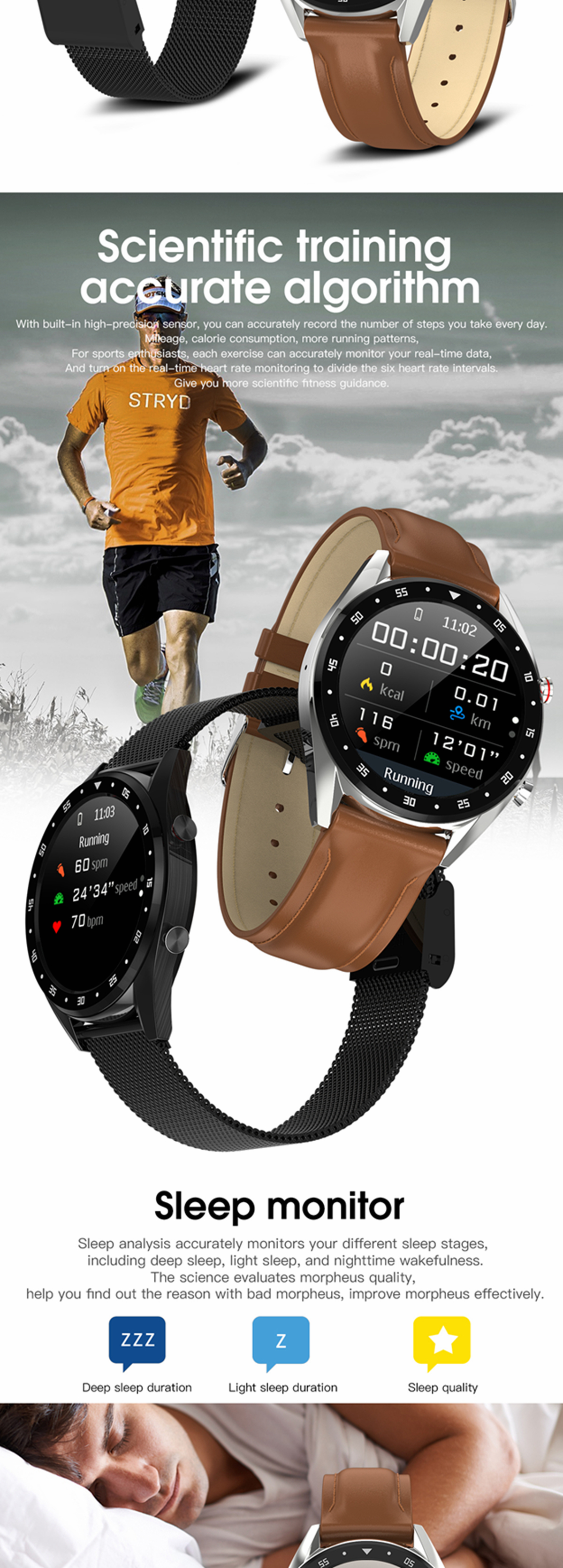 Microwear L7 Edge To Edge Screen ECG Heart Rate bluetooth Call IP68 Music Control Long Standby Smart Watch 27