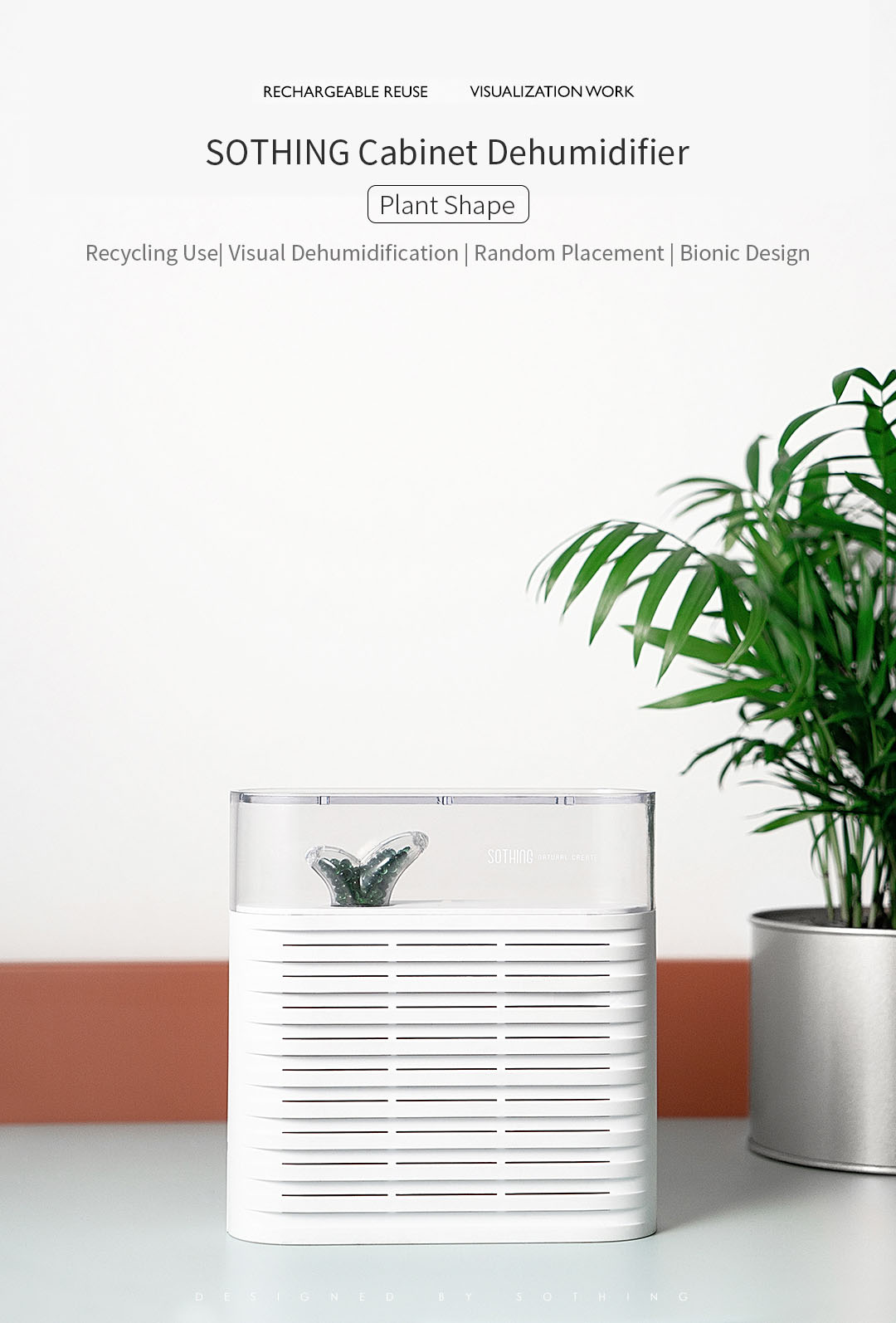 SOTHING Portable Plant Air Dehumidifier 150ml Rechargeable Reuse Air Dryer Moisture Absorber