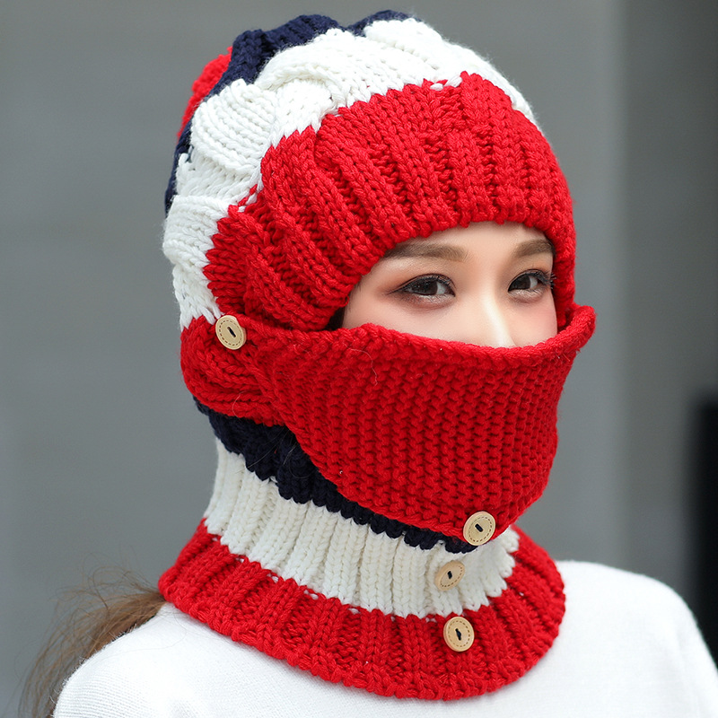 d1af4425 women winter windproof warm plus velvet knit hat scarf set at Banggood