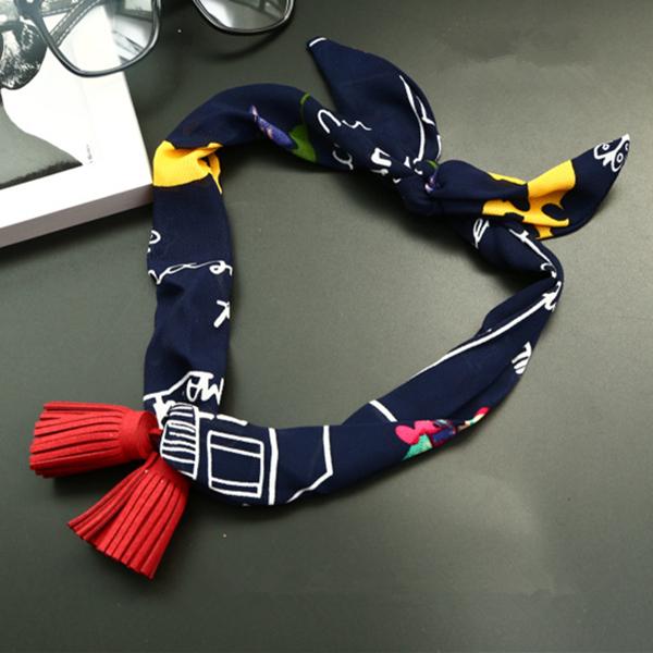 Женское Подвески All-Match Small Scarf Chiffon Sat Корейский стиль Tassel Украшение Ожерелье Шарфы