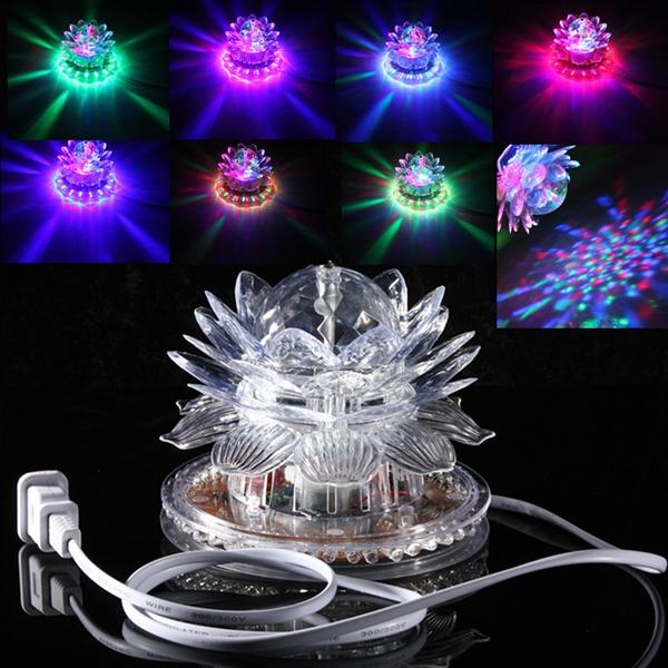 Автоматическое вращение 48 LED RGB Crystal Lotus Проектор Сценический эффект Light для диско-клуба