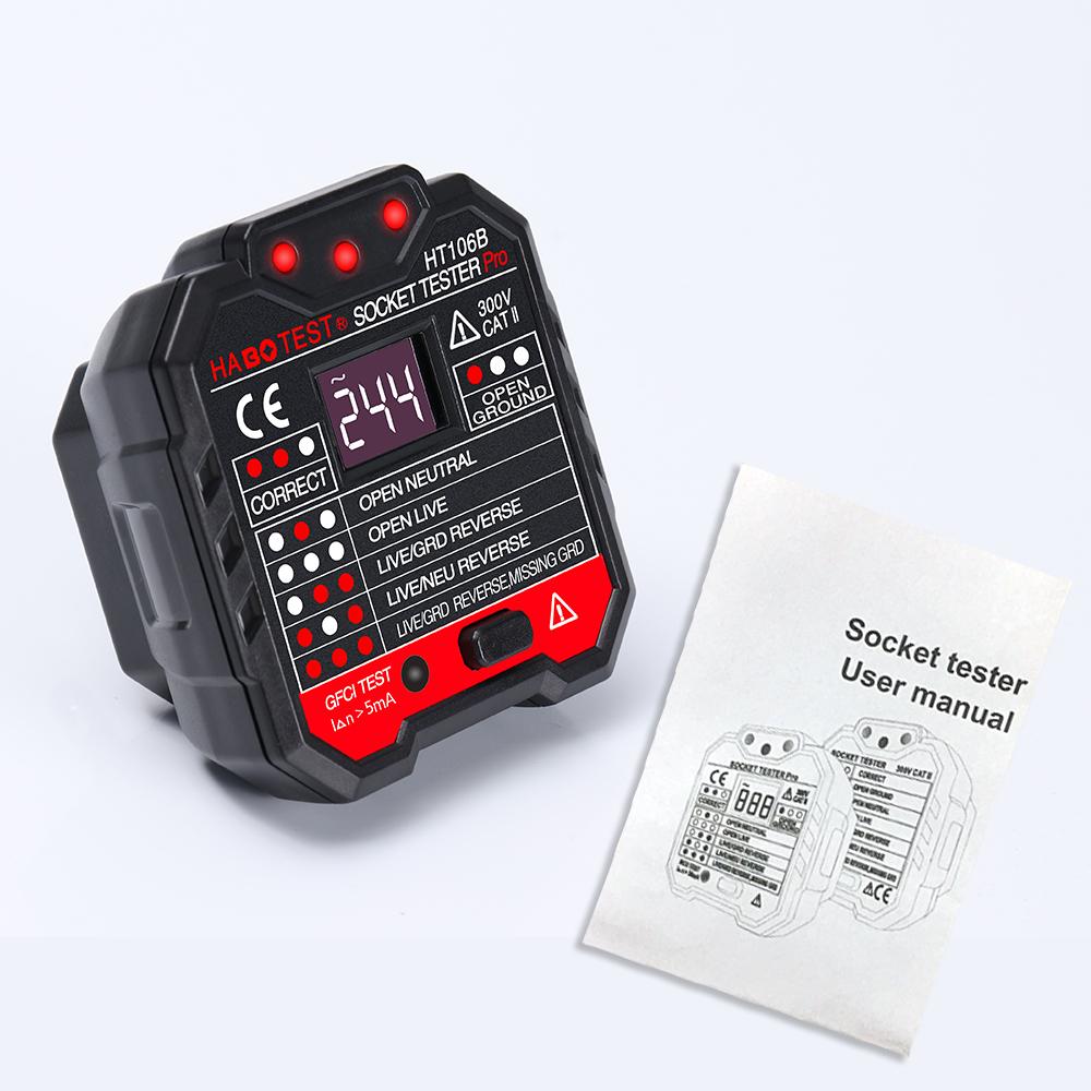 DANIU HT106B Socket Outlet Tester Circuit Polarity Voltage Detector Wall  Plug Breaker Finder RCD Test