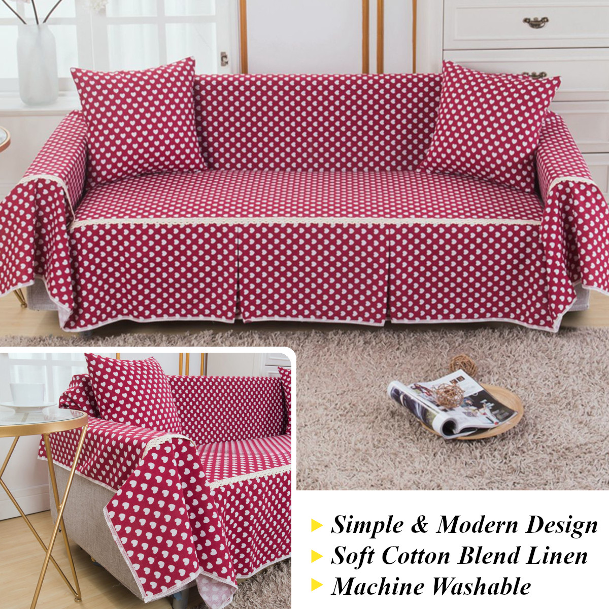 Sofa Covers Couch Slipcover Cotton Blend 1-4 Seat Pet Dog Sofa Cover  Protector