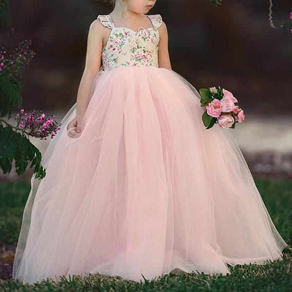 Sweet Toddler Girls Дети без рукавов Кружева Принцесса Платье