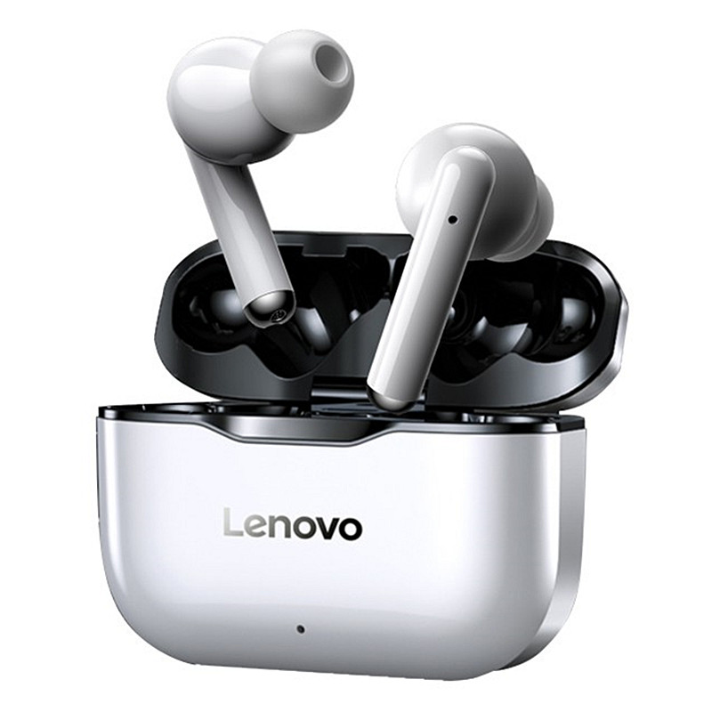 NEW Lenovo LP1 TWS bluetooth Earbuds IPX4 Waterproof Sport Headset Noise Cancelling HIFI Bass Headphone with Mic Type-C Charging – Black + White