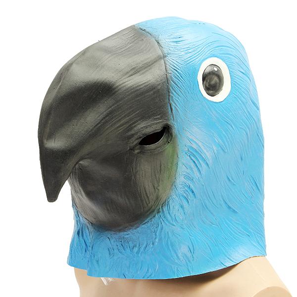 Blue Parrot Bird Mask Creepy Animal Halloween Costume Theater Prop Party Cosplay Deluxe Latex Anima
