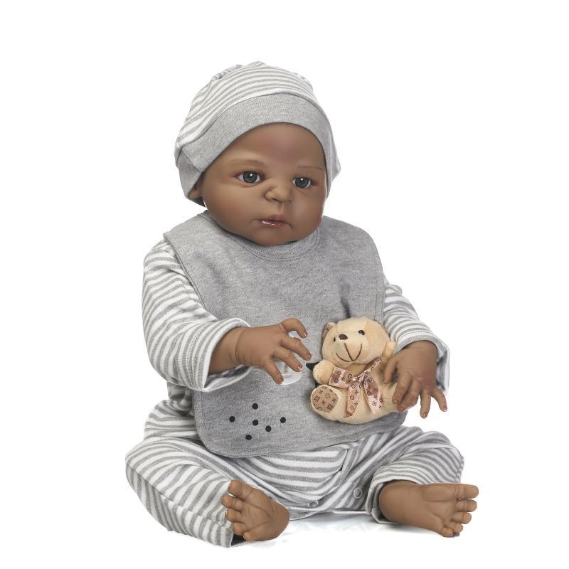 NPK 57CM Full Body Silicone Black Boy Reborn Baby Doll Soft Bear Children Bathe Playmate Toys