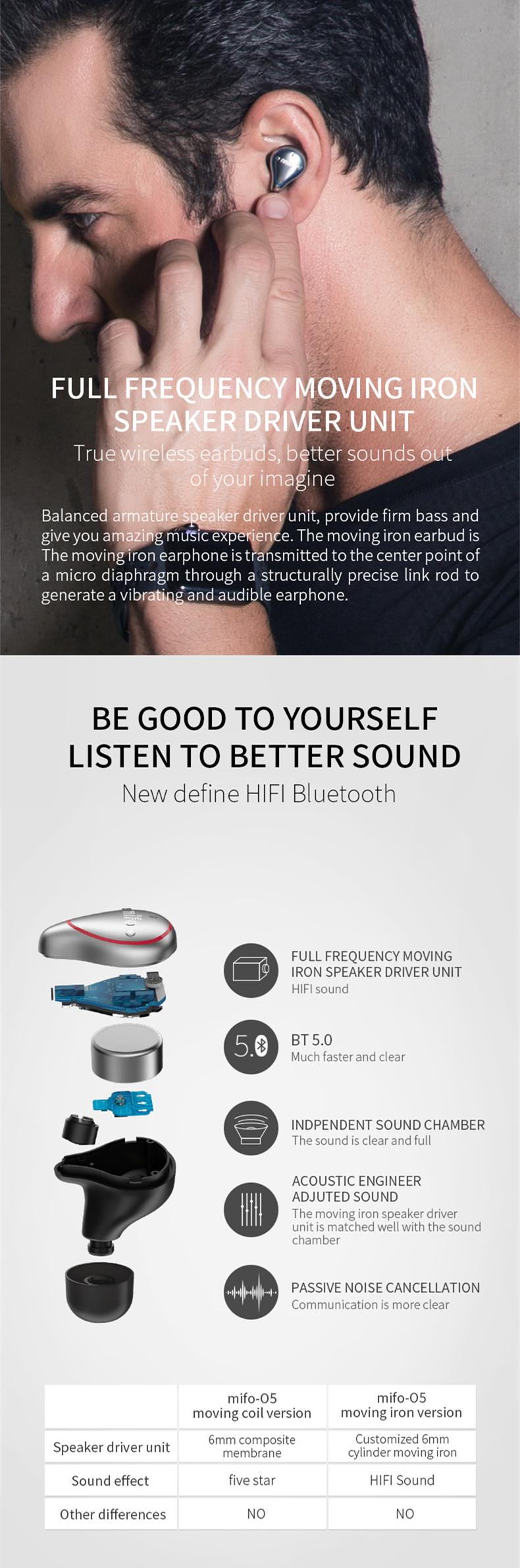 [True Wireless] Mifo O5 bluetooth 5 0 Balance Armature Drive Unit + Dynamic  Drive Mini Binaural In-ear Sports Waterproof Stereo Hifi Earphone for