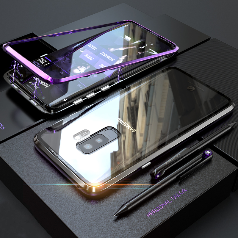 Bakeey Magnetic Adsorption Metal Clear Glass Protective Case for Samsung Galaxy S9/S9 Plus
