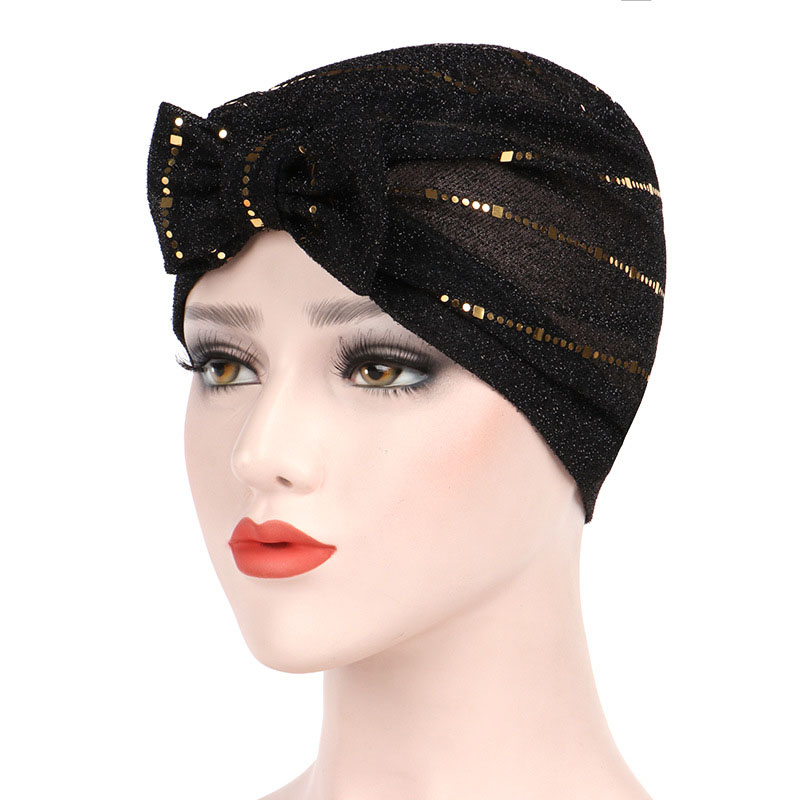 Women Muslin Studded Breathable Thin Ethnic Cotton Lace Beanie Hat Vintage Good Elastic Turban Caps