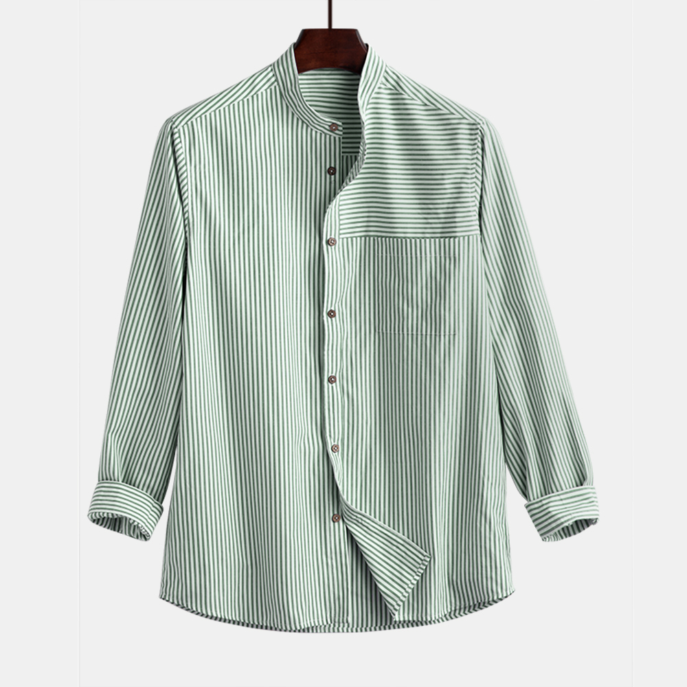 Mens Stripe Cotton Stand Collar Breathable Shirts