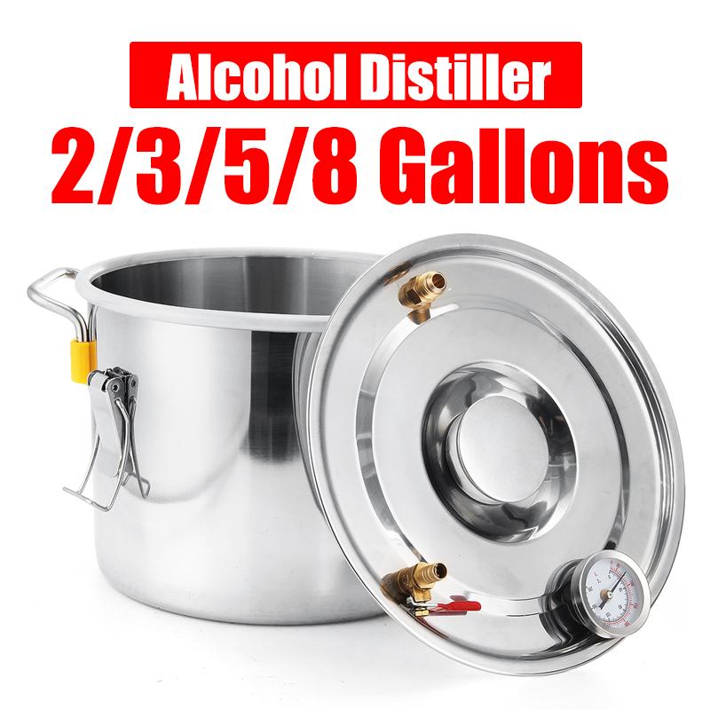 2GAL/3GAL/5GAL/8GAL Moonshine Still Spirits Kit Water Alcohol Distiller Boiler Home Brewing Kit Stainless Steel DIY 19
