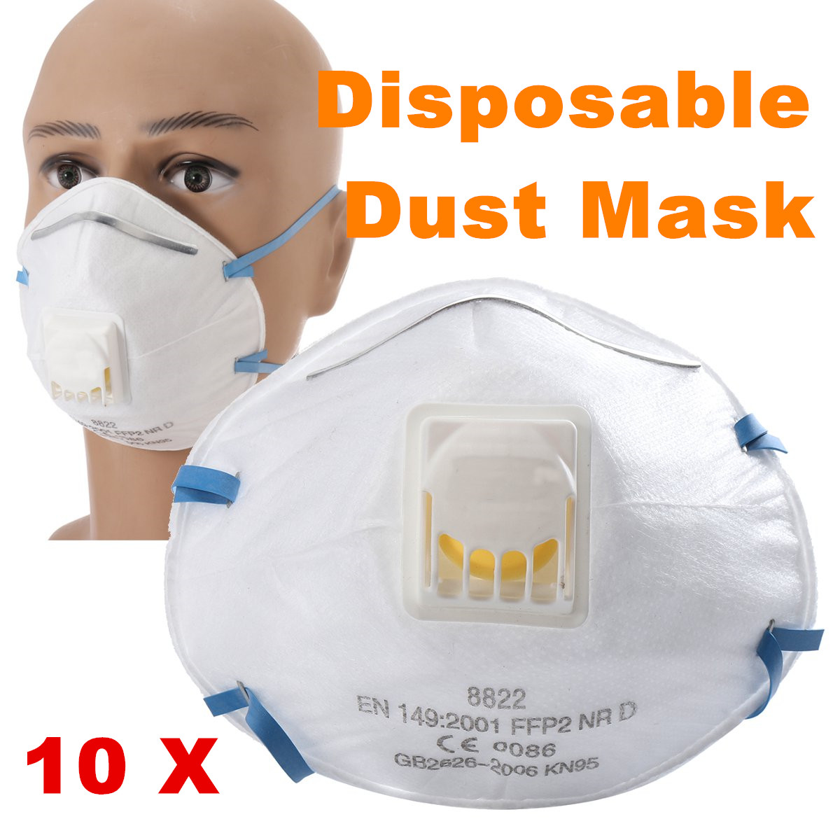 10pcs disposable ffp2 comfort valved dust mask pm2.5 ...