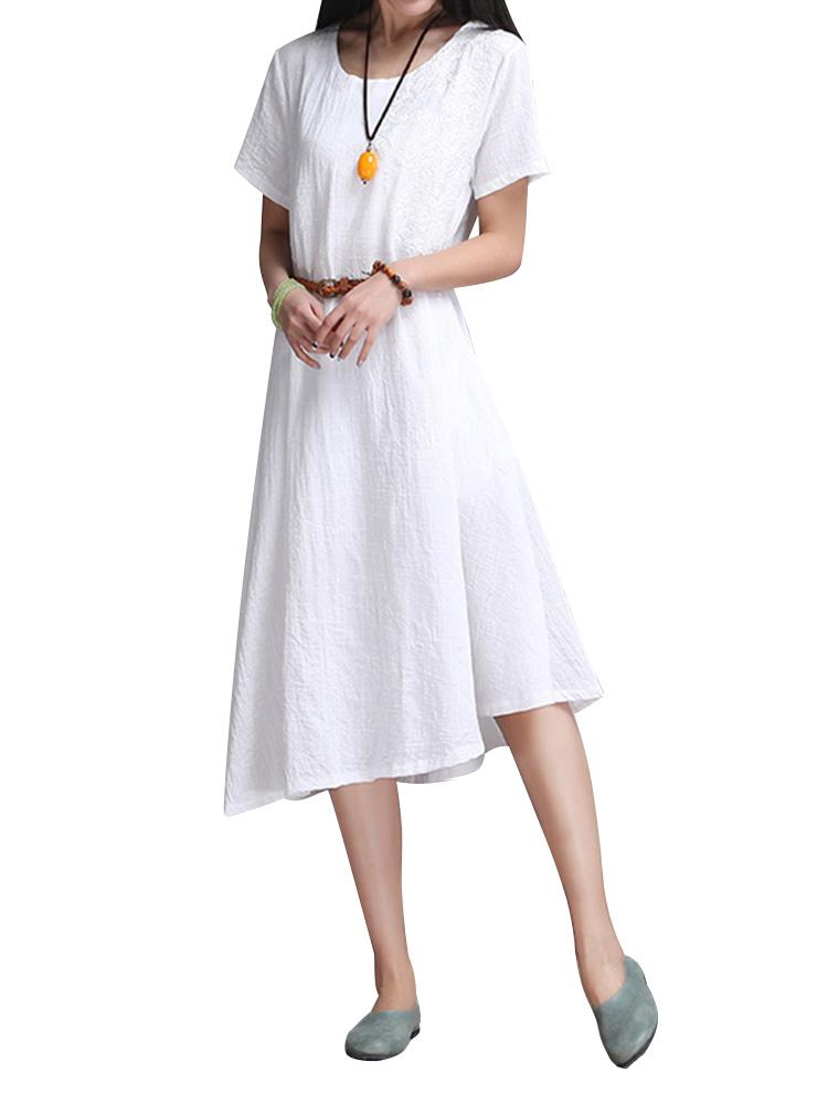 Vintage Embroidery Linen Dress